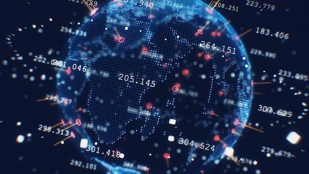 Een gestileerde weergave van de aarde die het moderne digitale tijdperk overbrengt en de nadruk op wereldwijde connectiviteit tussen mensen 3d illustratie