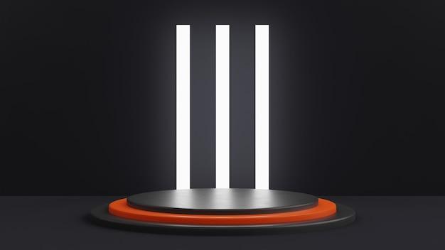 Een getrapt podium in het zwart met een oranje trede in het midden. groot wit licht op de achtergrond in de vorm van rechthoeken. 3d render.