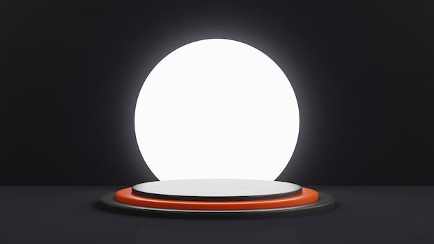 Een getrapt podium in het zwart met een oranje trede in het midden. groot wit licht op een achtergrond in de vorm van een cirkel. 3d render.