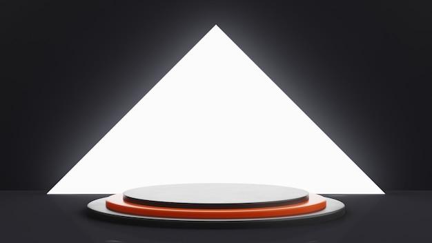 Een getrapt podium in het zwart met een oranje trede in het midden. groot wit licht op een achtergrond in de vorm van een driehoek. 3d render.