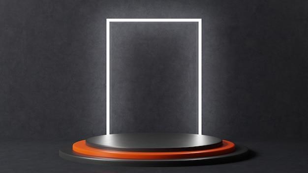 Een getrapt podium in het zwart met een oranje trede in het midden. groot wit licht op een rechthoekige achtergrond. 3d render.