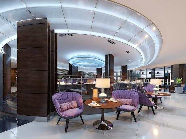 Een gezellige cafetaria in de lobby met comfortabele gestoffeerde stoelen en een tafel met een lamp. 3d-rendering