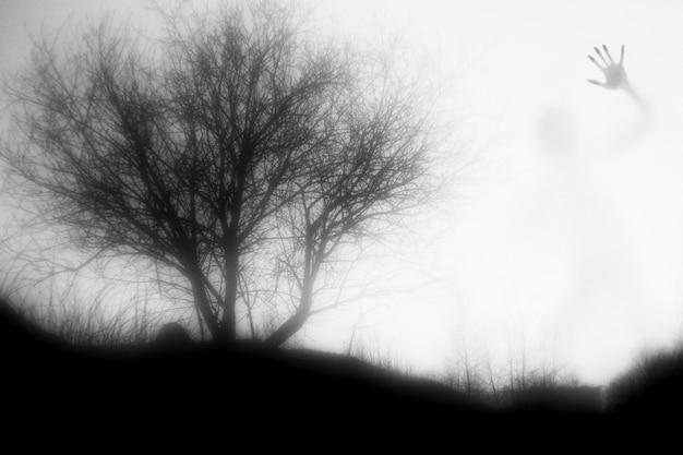 Een gigantisch monster dwaalt rond in de mist