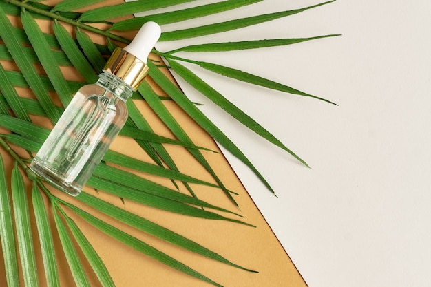 Een glazen cosmetische fles met een druppelaar op een beige achtergrond met stenen en bladeren.