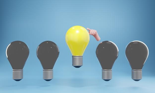 Een gloeiende gloeilamp die uit de onverlichte gloeilampen steekt. creatief idee en innovatieconcept, 3d illustratie