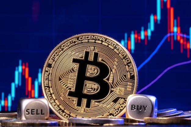 Een gouden bitcoin met twee dobbelstenen in een stapel munten op de achtergrond de aandelengrafiek met kandelaars. op de randen van de dobbelstenen staan de woorden