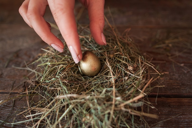 Een gouden ei in het nest van stro leggen