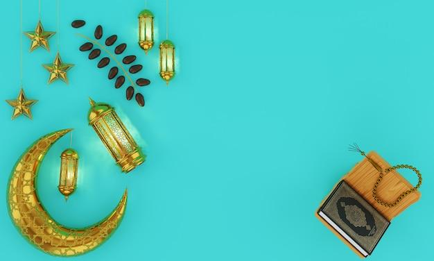 Een gouden ramadhan lamp met islamitische rozenkrans kralen op blauw