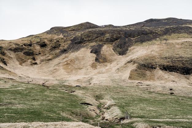 Een groene weide met een groef voor het verzamelen van bergwater met groen gras