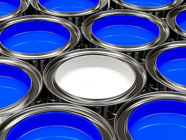 Een groep blauwe en een witte verf in open blikken.