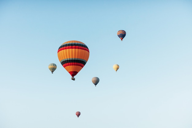 Een groep kleurrijke heteluchtballonnen tegen