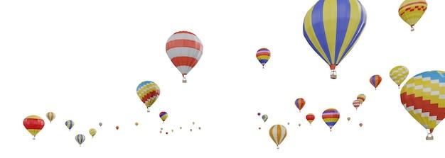 Een groep kleurrijke heteluchtballons die geïsoleerde 3d drijven