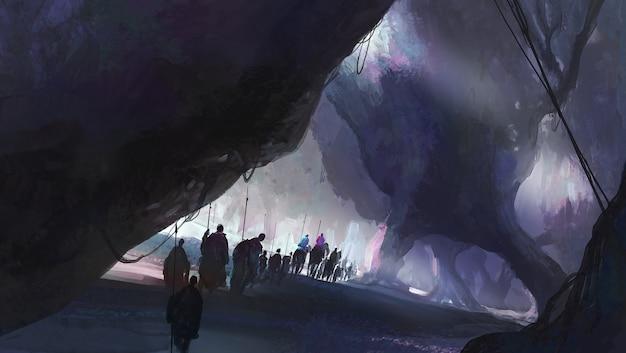 Een groep mensen die in een vreemde omgeving loopt, digitale illustratie.