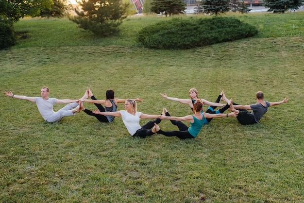 Een groep mensen die yoga in het park doen