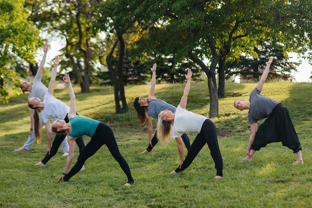 Een groep mensen doet yoga in het park bij zonsondergang.