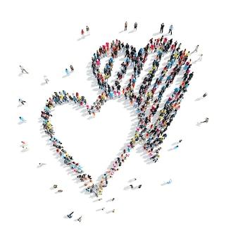 Een groep mensen in de vorm van harten