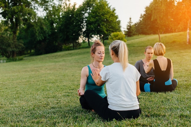Een groep mensen voert tijdens zonsondergang gepaarde yoga-oefeningen uit in een park. gezonde levensstijl, meditatie en wellness.