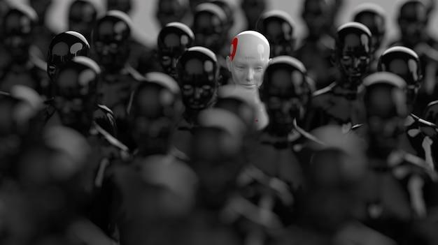 Een groep robots die in rijen staat, één robot van allemaal, heeft een duidelijk verschil