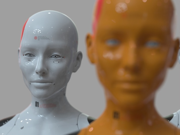 Een groep robots in vrouwelijke vorm, waarvan er één een duidelijk verschil maakt met de rest