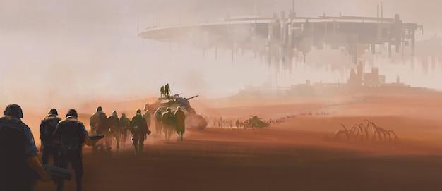 Een groep strijdkrachten wandelen in de woestijn. in de verte zweeft een enorm buitenaards moederschip in de lucht. 3d-illustraties en digitale schilderijen.