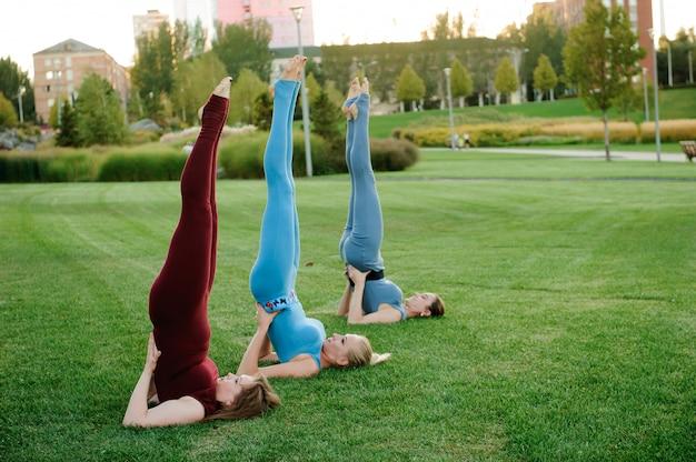 Een groep volwassen vrouwen die yoga buiten in het park bijwonen