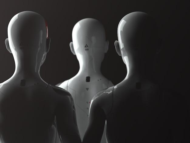 Een groep vrouwelijke robots die met hun rug naar de kijker staan