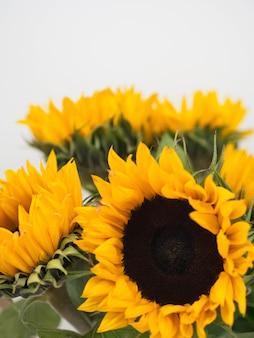 Een groot boeket gele decoratieve zonnebloemen