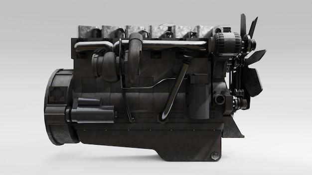 Een grote dieselmotor met de vrachtwagen afgebeeld. 3d-weergave