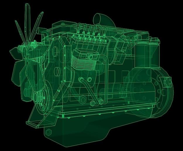 Een grote dieselmotor met de vrachtwagen afgebeeld in de contourlijnen op millimeterpapier. de contouren van de groene lijn op de zwarte achtergrond.