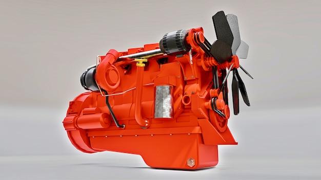 Een grote dieselmotor met de vrachtwagen afgebeeld