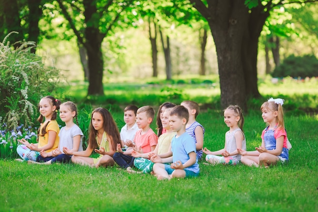 Een grote groep kinderen die zich bezighouden met yoga in het park zittend op het gras.