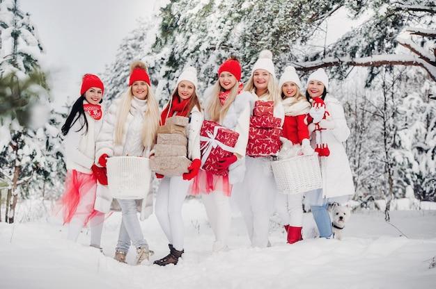 Een grote groep meisjes met kerstcadeaus in hun handen staan in het winterbos.