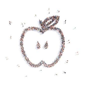 Een grote groep mensen in de vorm van een appel geïsoleerde witte achtergrond