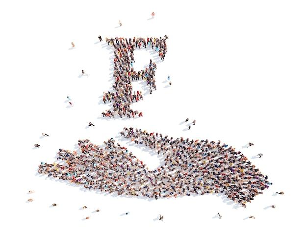 Een grote groep mensen in de vorm van een hand met geldbord
