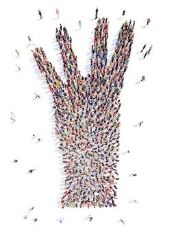 Een grote groep mensen in de vorm van een hand