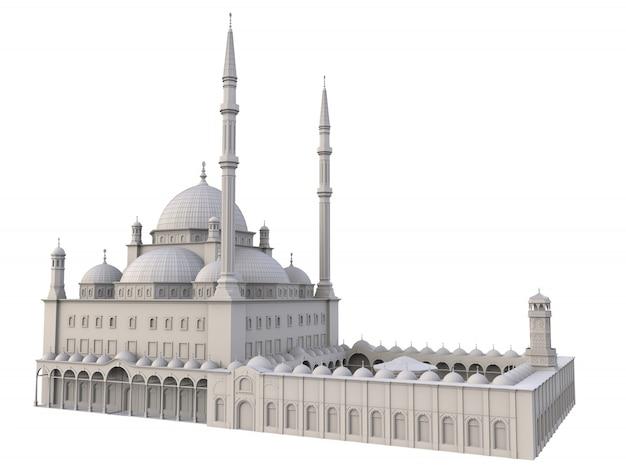 Een grote islamitische moskee. 3d-weergave