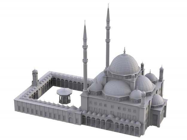 Een grote islamitische moskee, een driedimensionale rasterillustratie met contourlijnen die de details van de constructie benadrukken. 3d-weergave