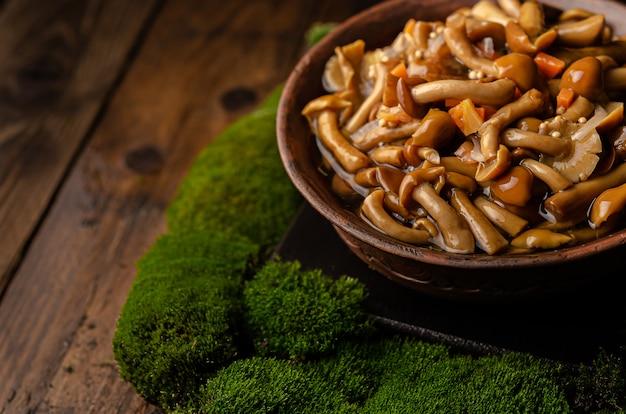 Een grote klei kom met wilde paddestoelen (honing paddestoelen), staat op een oude houten tafel met groene mos. eco-producten, natuurlijk verzamelen