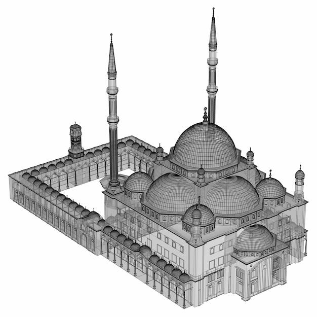 Een grote moslimmoskee, een driedimensionale rasterillustratie met contourlijnen die de details van de constructie benadrukken