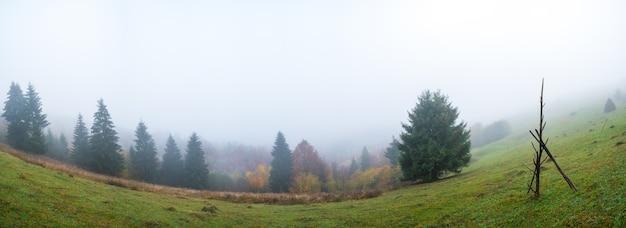 Een grote natte stapel staat op een groen veld te midden van dikke grijze mist bij nat weer
