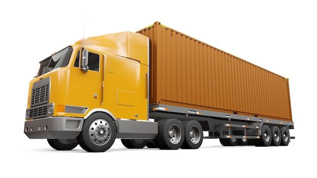 Een grote retro oranje vrachtwagen met een slaapgedeelte en een aerodynamisch verlengstuk draagt een aanhanger met een zeecontainer. 3d-rendering.