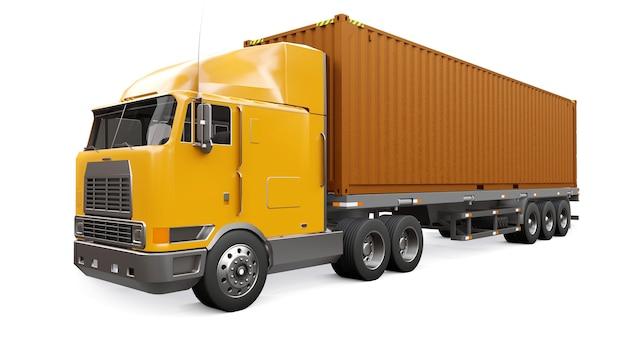 Een grote retro oranje vrachtwagen met een slaapgedeelte en een aerodynamische verlenging draagt een aanhanger met een zeecontainer