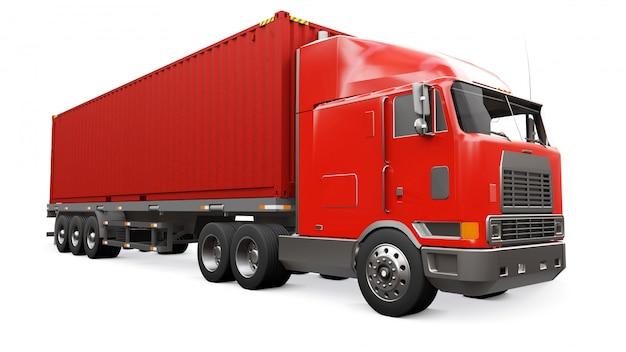 Een grote retro rode vrachtwagen met een slaapgedeelte en een aerodynamische uitbreiding draagt een aanhangwagen met een zeecontainer