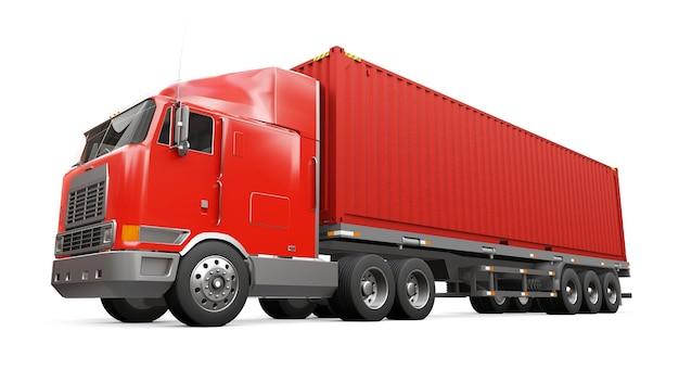 Een grote retro rode vrachtwagen met een slaapgedeelte en een aerodynamische verlenging draagt een oplegger met een zeecontainer