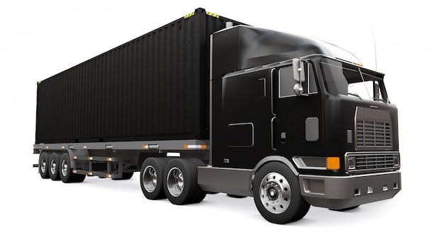 Een grote retro zwarte vrachtwagen met een slaapgedeelte en een aerodynamische uitbreiding draagt een aanhangwagen met een zeecontainer. 3d-weergave
