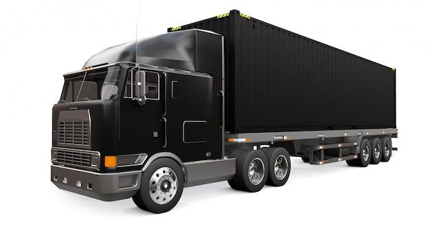 Een grote retro zwarte vrachtwagen met een slaapgedeelte en een aerodynamische uitbreiding draagt een aanhangwagen met een zeecontainer