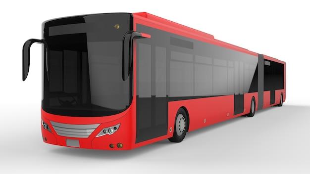 Een grote stadsbus met een extra langwerpig deel voor grote passagierscapaciteit tijdens de spits of vervoer van mensen in dichtbevolkte gebieden