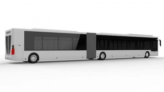 Een grote stadsbus met een extra langwerpig deel voor grote passagierscapaciteit tijdens spitsuren of personenvervoer. modelsjabloon voor het plaatsen van uw afbeeldingen en inscripties.