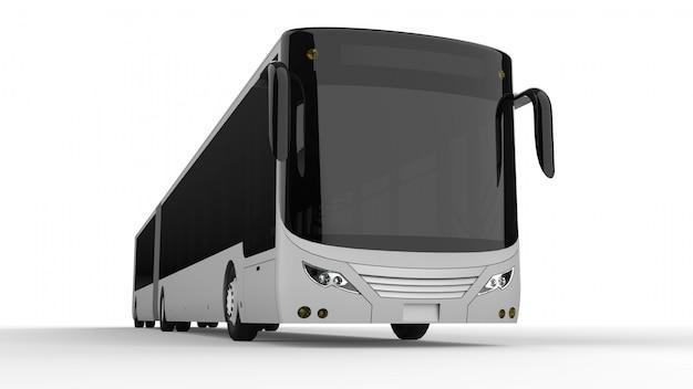 Een grote stadsbus met een extra langwerpig deel voor grote passagierscapaciteit tijdens spitsuren of vervoer van mensen in dichtbevolkte gebieden. modelsjabloon voor het plaatsen van uw inscripties
