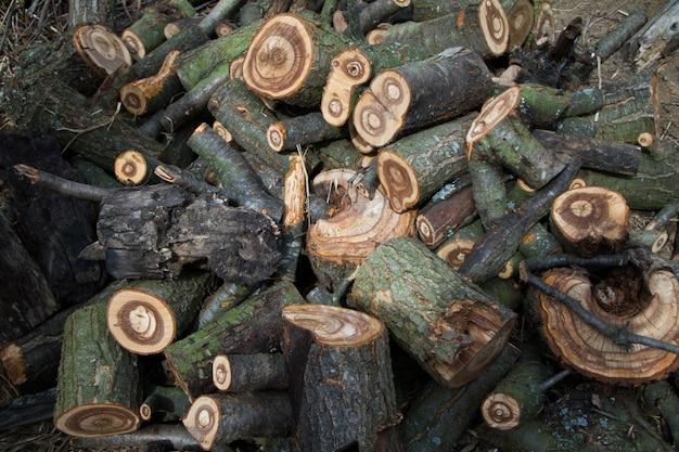 Een grote stapel gehakte brandhout ligt in de tuin van de boerderij